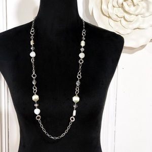 White House Black Market • Silver Beaded Necklace